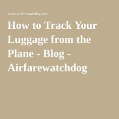 How to Track Your Luggage from the Plane - Blog - Airfarewatchdog