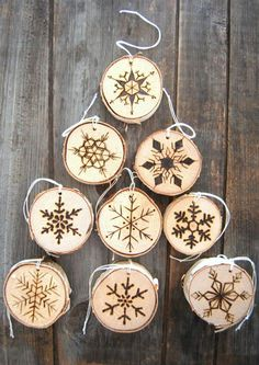 You can even use wood slices from smaller branches to decorate a home for the holidays. The wood slices below were decorated using a wood burning tool - or Dremel VersaTip soldering iron.