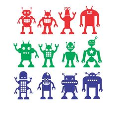 Robots Wall Decal set of 12 funky robots Boy by FairyDustDecals