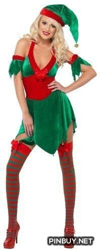 Smiffys sexy velvet santa helper elf halter dress christmas costume