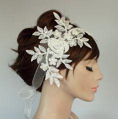 Ivory Cream Beady Weddings Fascinator Bridal by MammaMiaBridal, $47.00