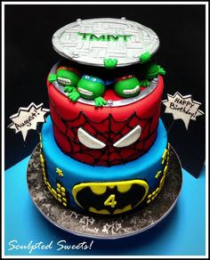 Children's Birthday Cakes - Super Hero's! Teenage Mutant Ninja Turtles, Spiderman and Batman! Gumpaste sewer top, fondant turtles and fondant detailing.