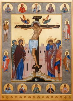 A new sacred image appeared in St. Elisabeth Convent: the icon of the Crucifixion of Christ Religious Images, Religious Icons, Religious Art, Byzantine Art, Byzantine Icons, Crucifixion Of Jesus, Jesus Christ, Roman Church, Religious Tattoos