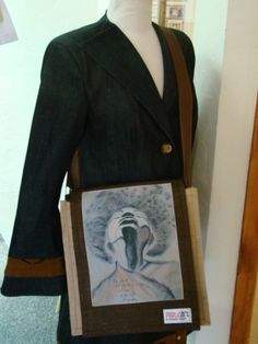 Featuring a stretch my wings jute bag. Natural, eco-friendly and creative bags that make a statement.
