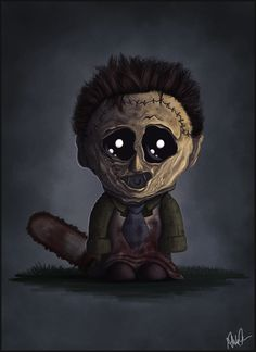 Funny parody of 'little' Leatherface from THE TEXAS CHAINSAW MASSACRE series of films.