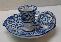Vintage Blue and White Porcelain Candle Holder Drip Tray Bird Flowers Takahashi   eBay