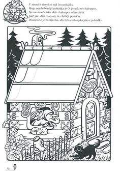 perníková chaloupka   Výtvarná výchova Hansel Y Gretel, Class Activities, Nursery Rhymes, Hana, Coloring Pages, Fairy Tales, Kindergarten, Preschool, Playing Cards