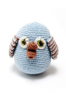 These Pebble fair trade, hand made, pink cotton crochet owl rattles are available in pink and blue. They are all hand made so size may vary but they are all about 9cm high and 9cm wide.   There is a fabulous, hand crocheted matching hat to team up with rattle to make a fabulous present.  Two fabulous designs to choose from!  Suitable from birth.