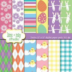 easter themed digital scrapbook papers by lane + may on Etsy, $5.00