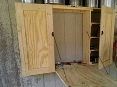 Open View of Patio Grilling Storage Cabinet with Drop Down Table