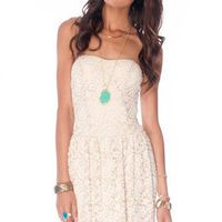 Madeline Laced Dress in Beige :: tobi
