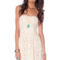 Madeline Laced Dress in Beige :: tobi
