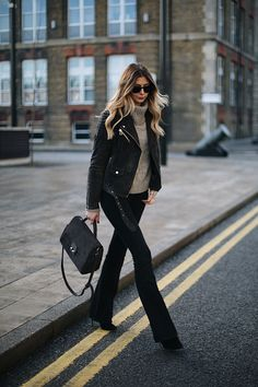 Emma Hill - Black flares, dark grey suede jacket, grey roll neck sweater, chic winter outfit style