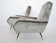 Italian Silver-Grey Velvet Mid-Century Armchairs with Stiletto Brass Feet, 1950s | See more antique and modern Armchairs at https://www.1stdibs.com/furniture/seating/armchairs