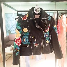 asos: Floral embroidery studs = The Queen of leather jackets Make sure to keep an eye out it's coming soon!