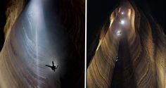 11 cavernas pelo mundo que você tem que visitar antes de morrer - FANTASTIC PIT CAVE - EUA A caverna, de 179 metros de profundidade, fica no Condado de Walker, na Georgia, e é conhecida como a mais profunda dos EUA. Pra você ter uma ideia da profundidade, caberia quatro estátuas do Cristo Redentor em pé uma em cima da outra.
