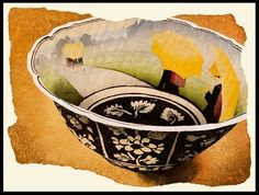 Daniel Kelly, Butter Cup, 2008, (woodblock), edition of 50, 26 x 34 inches. As an American living in Japan, Kelly studied woodblock printing in Kyoto under Tokuriki, who taught him the Edo period methods and tools. He has always tried new media and continues to embrace new ideas and methods. #stilllife #yellow #Japanese