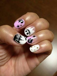 Cute black, white and pink Halloween nails