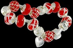 silver plated items: bracelet with snap closure, enamel beads, balls, heart charm, lock. Seven glass beads with 925 silver core. Pandora Like Bracelets, Cheap Fashion Jewelry, Fashion Jewellery Online, Italian Jewelry, Murano Glass Beads, Wholesale Jewelry, Glass Jewelry, Heart Charm, 925 Silver