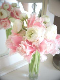 light pink tulips and white ranunculus in tube vase
