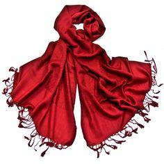 Etole pashmina rouge carmin damassée - Etole/Etole pashmina - Mes Echarpes