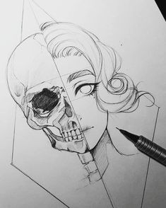 This is an interesting drawing but the skull is VERY wrong. I'd like to try to do my own, fixing it. Click to find out more...  #drawings