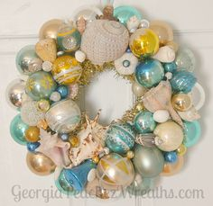 "Image of Sea Shells & Shiny Brites Vintage Ornament Wreath 3214 - 15"" diameter"
