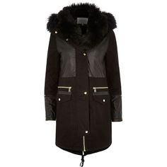 River Island Black faux fur collar parka ($230) ❤ liked on Polyvore featuring outerwear, coats, black, coats / jackets, women, parka coat, river island parka, tall coats, zip coat and nylon parka