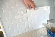 Peel And Stick Tile, Stick On Tiles, Kitchen Tiles, Diy Kitchen, Kitchen Backslash, Kitchen Interior, Kitchen Sink, Kitchen Decor, Easy Backsplash
