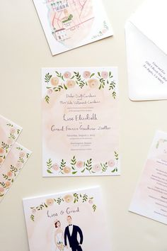 wedding stationery watercolor romantic la jolla wedding, portrait and maps illustrated by Emma Block by @jollyedition