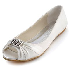 ElegantPark EP2053 Women Peep Toe Rhinestones Comfort Flats Pleated Satin Wedding Bridal Shoes Ivory US 8 *** You can get additional details at the image link. Note:It is Affiliate Link to Amazon.