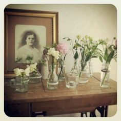 Recycled jars and bottles, old tikkakoski-sewingmachine and my great grandmother - my home - photo by laurainen Recycled Jars, Home Photo, Glass Vase, Recycling, Romantic, Diy Ideas, Bottles, Painting, Home Decor