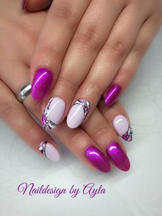 134 amazing nail art designs ideas for you – page 24 Elegant Nail Art, Beautiful Nail Art, Gorgeous Nails, Pretty Nails, Purple Nail Art, Pink Nails, Gel Nails, Nagellack Design, Fingernail Designs