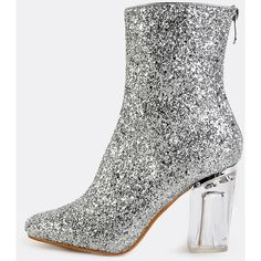 Glitter Crystal Heel Booties SILVER (66 AUD) ❤ liked on Polyvore featuring shoes, silver, silver high heel shoes, square toe shoes, glitter high heel shoes, glitter shoes and clear heel shoes