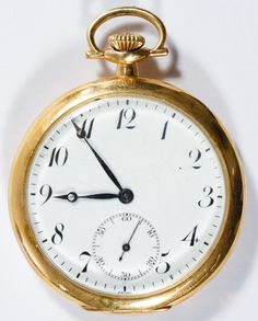 "Lot 428: Longines 14k Gold Open Face Pocket Watch ; Having a fifteen jewel Swiss movement serial #3824251, stem wind and set; marked ""14k"" inside both back covers"