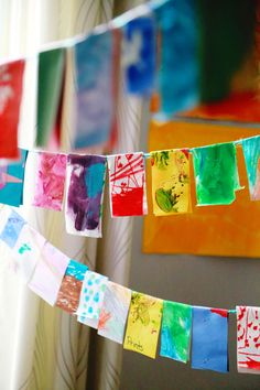This Upcycled Kid Art Garland is creative way to display and create art with…
