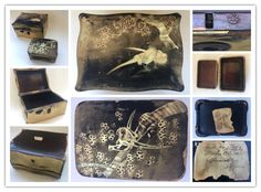 """Japanese lacquer boxes. 金定 Kanesada is written on the lock system or perhaps it reads 錠 Jō, """"lock""""."""