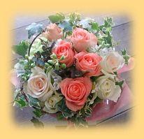 花ギフトのプレゼント【BFM】 サーモンピンクのハーモニー そんなフラワーアレンジメントです。 http://www.basketflowermarkets.com/mayk38.htm