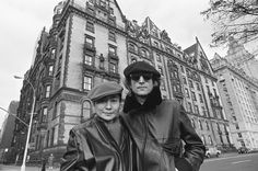John Lennon & Yoko Ono in front of The Dakota. They lived on the 7th floor facing West 72nd Street and Central Park West. Their bedroom window overlooked Central Park.