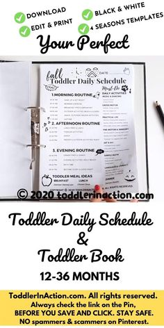 The Perfect Daily Toddler Schedule Editable Printable - Planner - Toddler Routine - DIY Baby Book - Record Childhood Memories - Stay-at-Home, Spring, Summer, Fall, Winter This Four Seasons Daily Toddler Schedule Black & White is one of our favourite tools for organising our toddler routine 12-36 months. Not only it helped us plan our days better, but it helped us create and record our childhood memories in easy and fun way. Including Toddler Activities Routine, Toddler Meals, Photo of the…