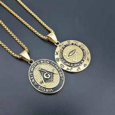 S 10k Rose Gold Freemason Compass and Square Masonic Pendant Necklace
