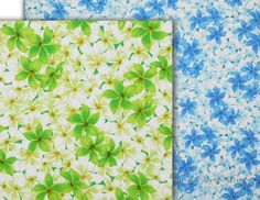 Tropical Floral Fabric: Plumeria Flowers, Blue, Green, Dress Quilting Material. Sold at HawaiianFabricNBYond.Etsy.com