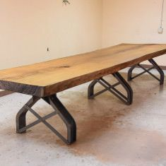 """Base price includes a 96″ x 40″ glasstop in dining height. Standard Dimensions: 96"""" long x 40"""" wide x 30"""" high 120"""" long x 48"""" wide x 30"""" high Larger custom size available Also available with a round top and pedestal base Available top choices: Glass, Steel, Oak / Walnut / Black LacqueredAsh with a Chamfered Edge Please see our top material selections here:LINK https://youtu.be/P77rvcfZYdU"""