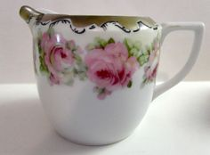 VINTAGE PRUSSIA CREAMER PITCHER PINK ROSES FLORAL MARKED WINGED LION RED STAMP