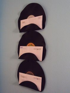 Repurposed Upcycled Vinyl Record Mail Holders Set of 3 Vinyl Record Art, Vinyl Lp, Vintage Vinyl Records, Record Decor, Record Wall, Vinyl Crafts, Diy Home Crafts, Kids Crafts, Music Room Art