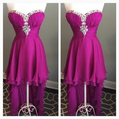 Fuchsia Chiffon Beaded Sweetheart Homecoming Dress Sean Express Collection - strapless sweetheart hi lo dress - beaded neckline - chiffon material - orchid fuchsia color - size 12 (38.25 inch bust, 30.5 inch waist, 42 inch hip) 29 inches long front of dress - 55 inches long back of dress - perfect for bridesmaid, homecoming, prom or any special occasion -  excellent condition Sean Express Collection  Dresses