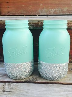 Quart Glitter Mason Jars - Set of 2 - Mint and Silver - Wedding Centerpiece…