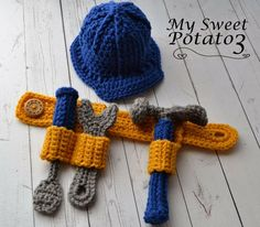 My Sweet Potato 3: Tool Belt Pattern Release Construction Hard Hat Crochet Props by Sweet Potato 3 Patterns