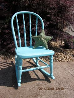 Vintage Childs Rocking Chair Turquoise by ShabbySeaCottage on Etsy, $69.00