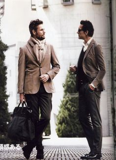 I've included this just as a case study in jacket length and fit. Both of these men are fairly tall and slim. First of all, jacket length: no matter your height, a good rule of thumb is to have the jacket sit at or just barely above your back pockets (i.e. your butt). Second, the fit - observe their pants. They've both got what some would call bird legs: long and lanky. Pants do not naturally fit well, but they've both had their pants slimmed and tailored, and the result is a great profile.